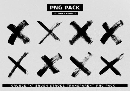 Grunge X Brush Stroke Transparent PNG Pack