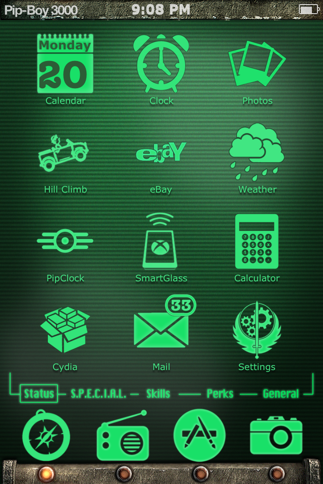 Pip-Boy 3000 theme for iphone and ipod touch by Neg-319 on DeviantArt