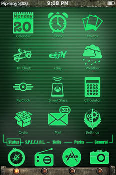 Pip-Boy 3000 theme for iphone and ipod touch