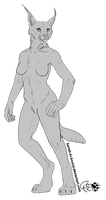 FREE Anthro Caracal Lineart