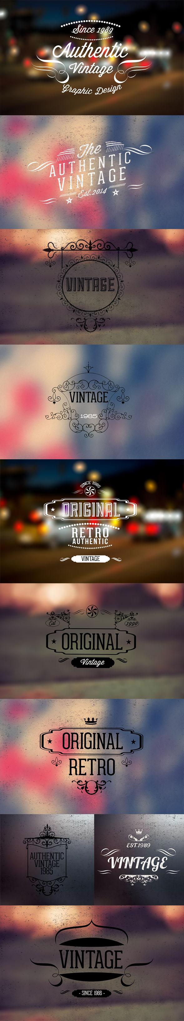 10 Vintage retro labels PSD file V2 free Version