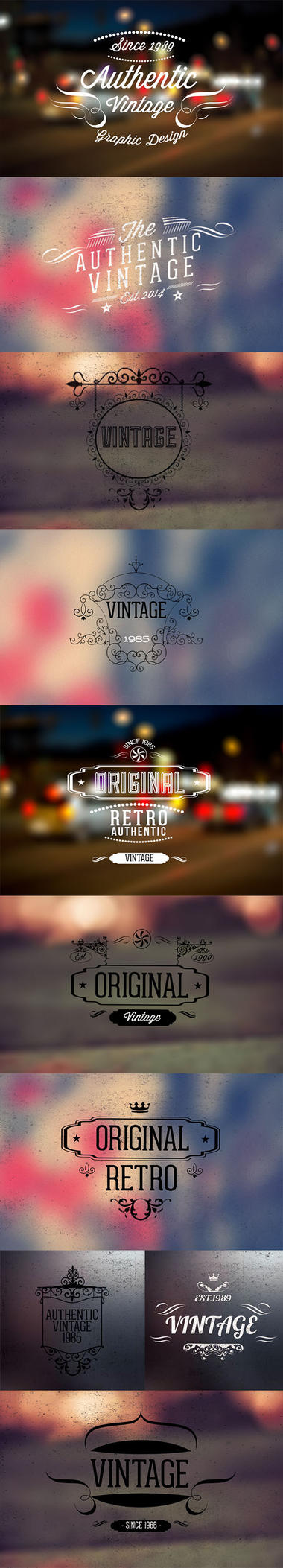 10 Vintage retro labels PSD file V2 free Version by kadayoub