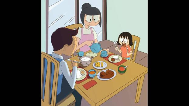 Pak Udin and Mak-Irits-family-breakfast