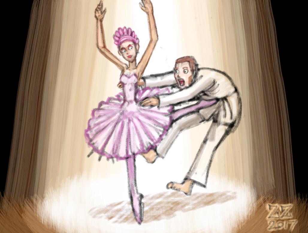 Draw a ballerina kicking a black belt in the belly by zenzmurfy
