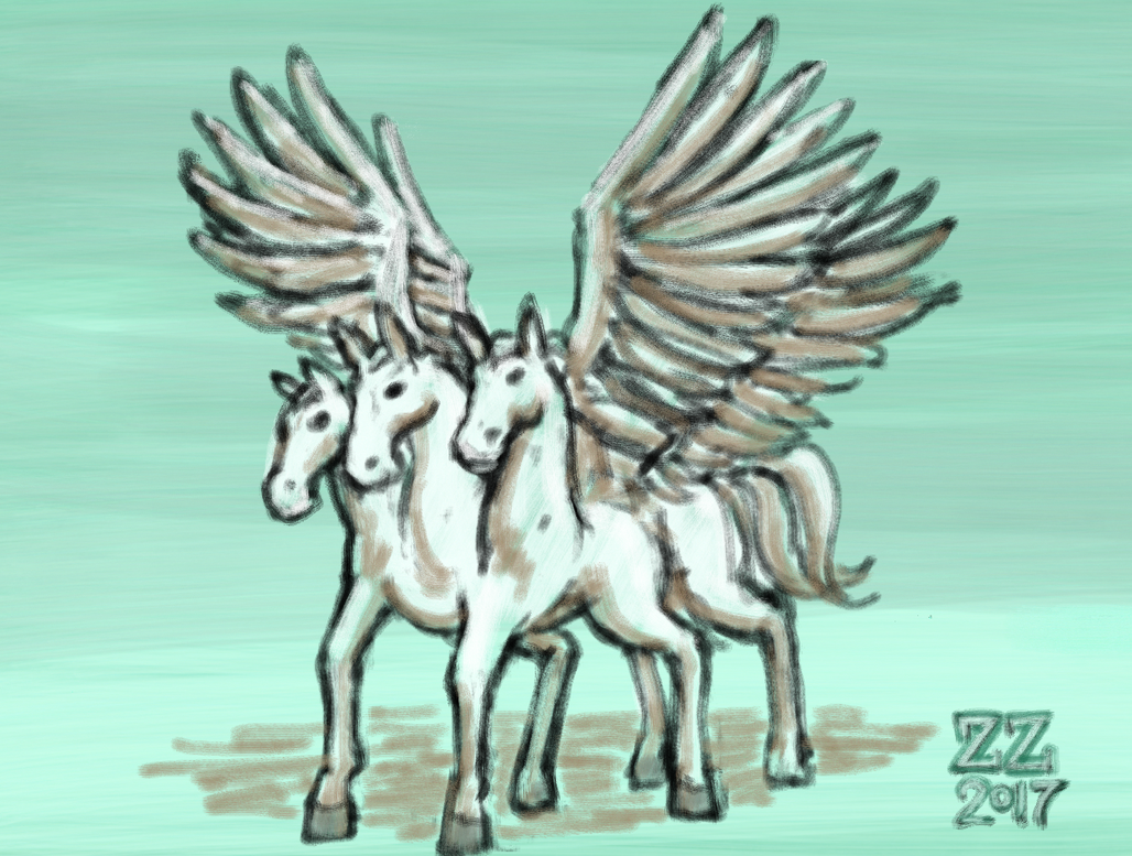 Draw a 3 headed horse with 4 wings 6 legs 5 tails by zenzmurfy