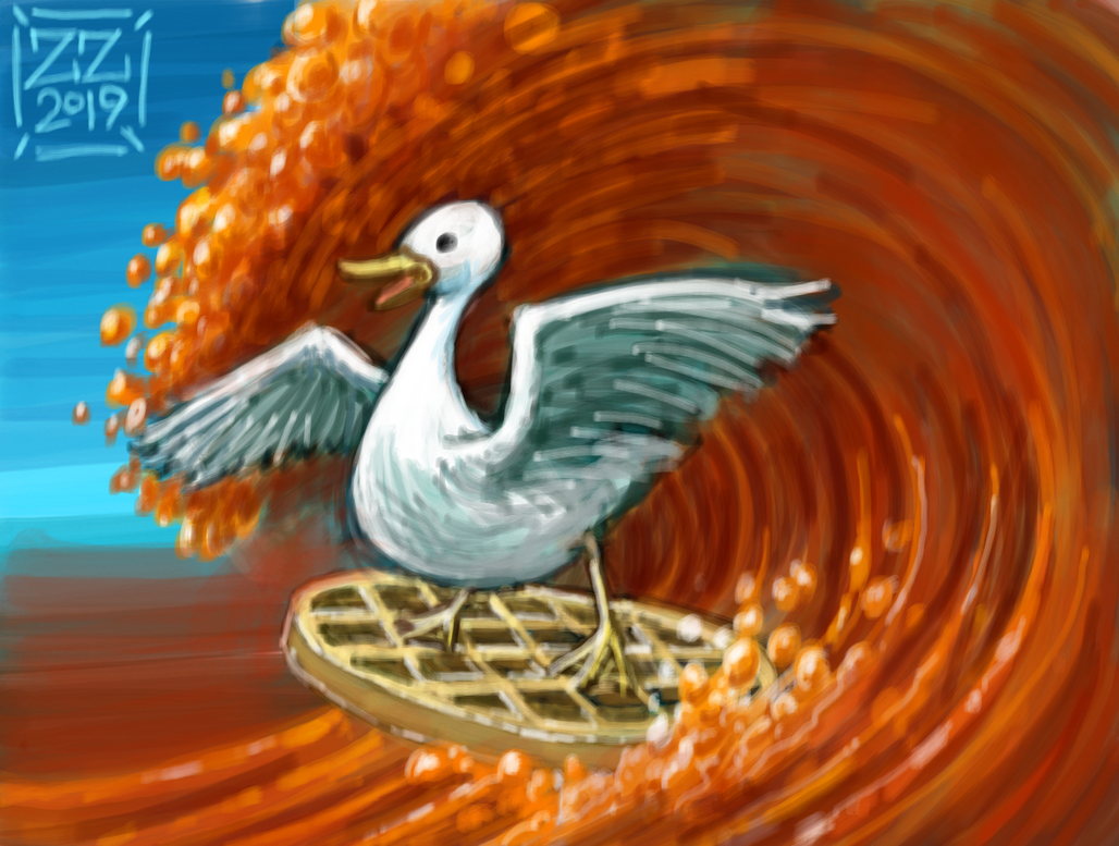draw a duck on a waffle surfing on maple syrup by zenzmurfy