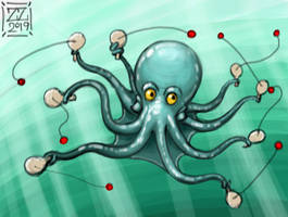 draw an octopus that plays with a paddle ball