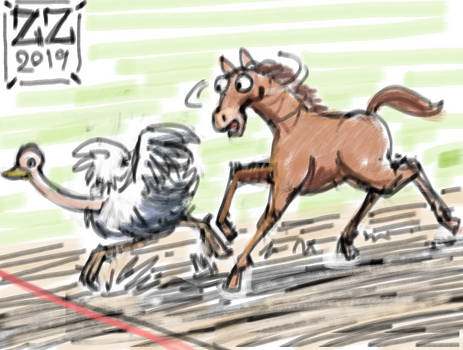 Draw An ostrich beating a horse in a race