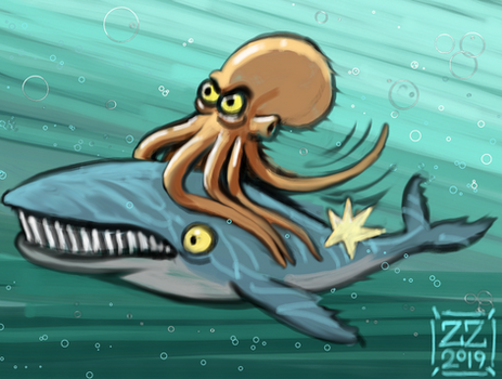 draw an octopus that rides a whale