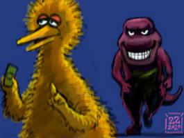 draw barney approaching big bird menacingly