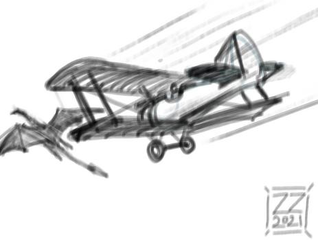 Draw dragon vs bi-plane 2