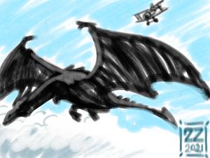 Draw dragon vs bi-plane