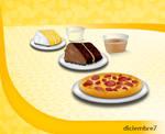 Iconos: pizza, pastel y pastel