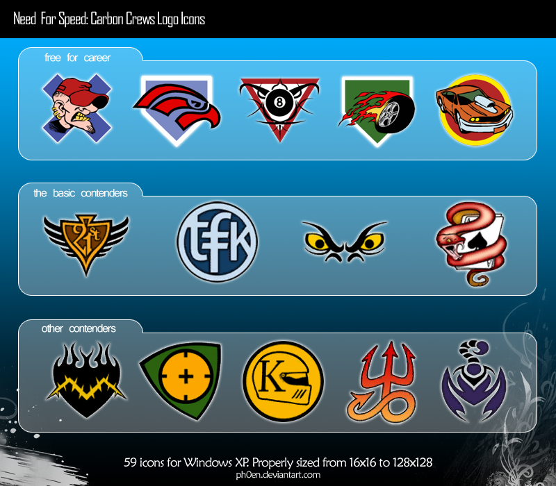 NFS: Carbon Crews Logo Icons by Ph0eN