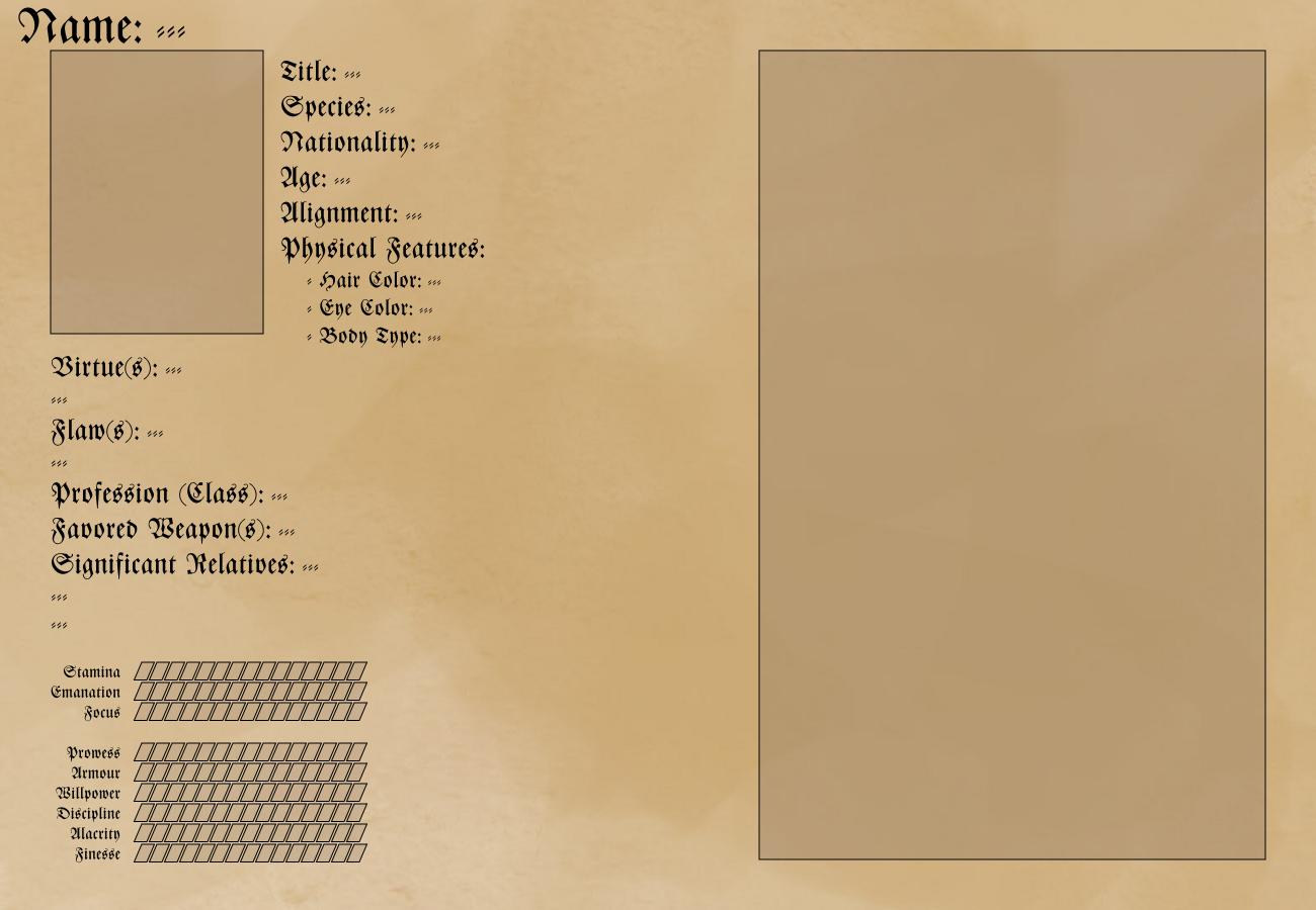 Character Bio Sheets