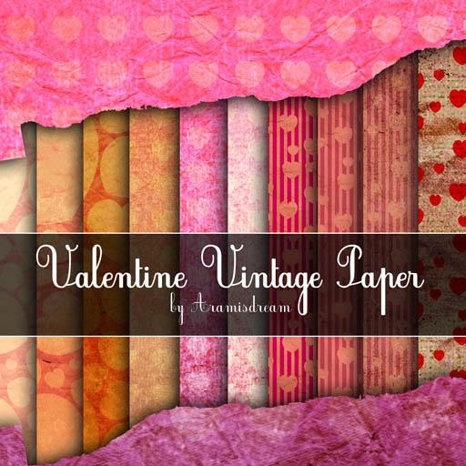 Vintage Valentine Paper by Aramisdream