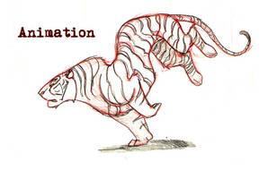 Hand Drawn Tiger Run by Tigerty