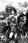 Wonder Woman issue 1 cover uncolored