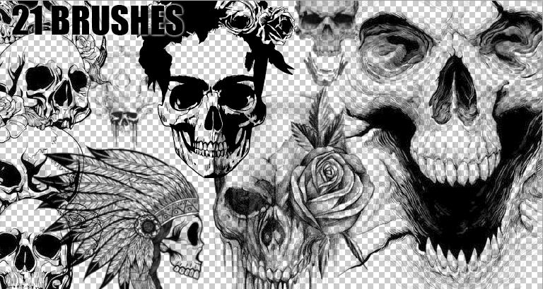 BRUSHES SKULLS PHOTOSHOP #02 by EME-21
