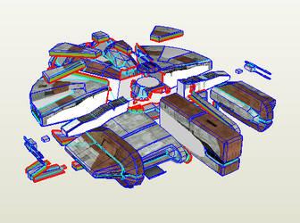 Ebon Hawk Model Template (No Fold Lines)