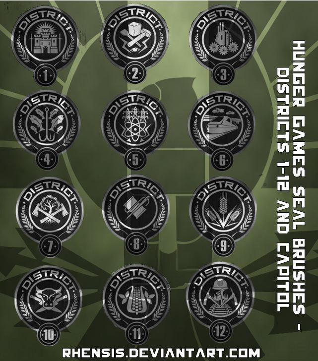 Hunger Games District and Hunger Games Capitol Seal Vector