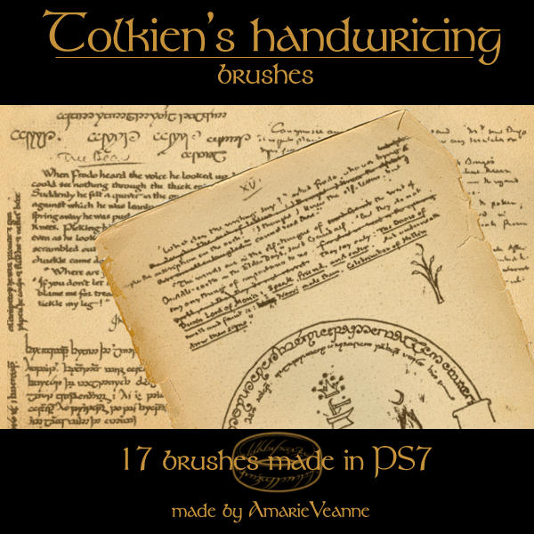 Tolkien's handwriting brushes by AmarieVeanne-Stock