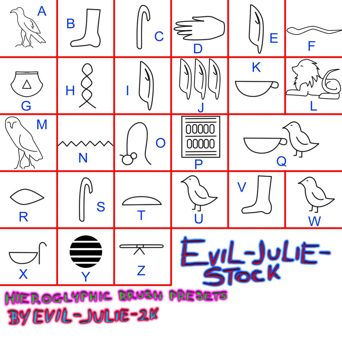 Hieroglyph Bruses by Evil-Julie-Stock
