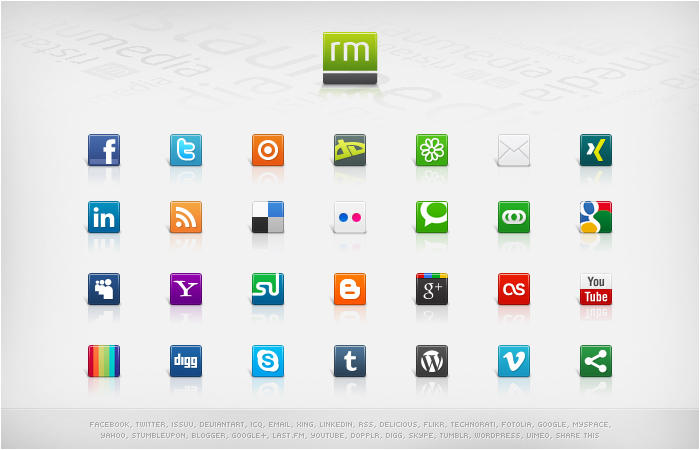 set d'icones sociales
