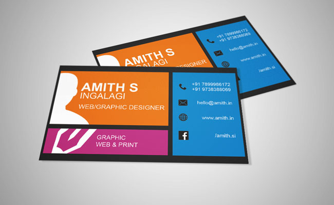 Free Business Card Template For WebGraphic Design By Amith On - Web design business cards templates