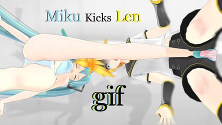 MMD Ballbusting GIF - Miku Punishes Pervy Len by YokoBB