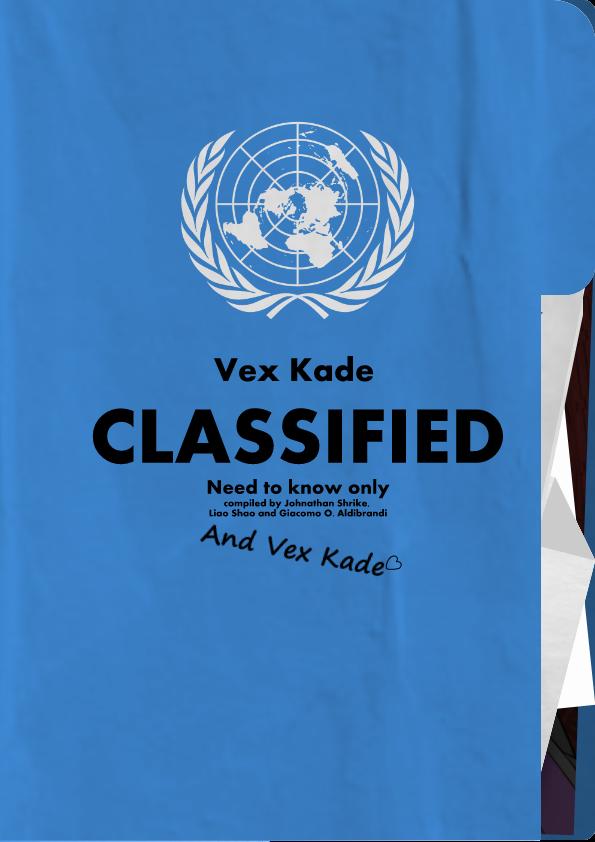 PMVH- Vex Kade Dossier and Character sheet by kaiakai