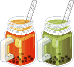 Bubble teas in Mason jars by Ice-Pandora
