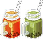 Bubble teas in Mason jars