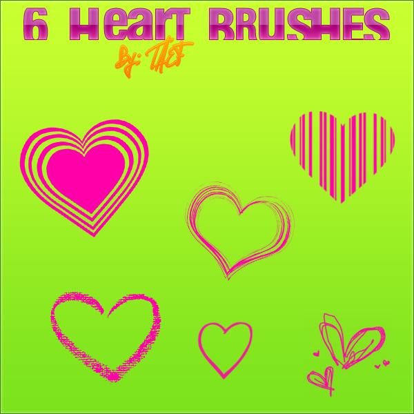 6 Heart Brushes