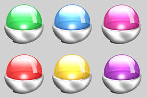 Shiny Glass Orbs and Metal by niccey