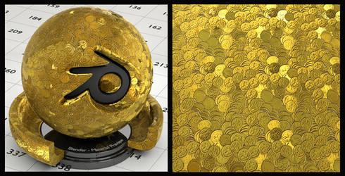 Gold pile material for Blender (no UVs needed)