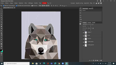 Low poly wolf art