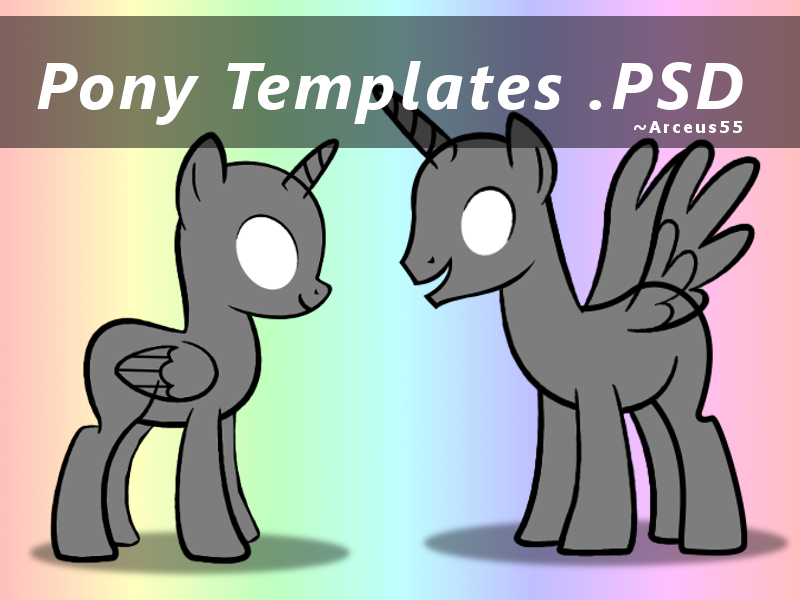 Pony Templates (Mare and Stallion) Click Download by Arceus55