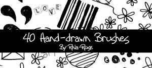 40 Hand Drawn Brushes by Rhia-Rose