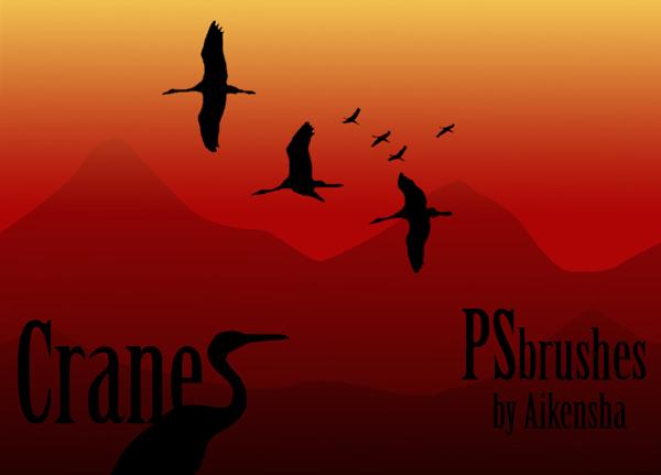 Cranes Photoshop brushes