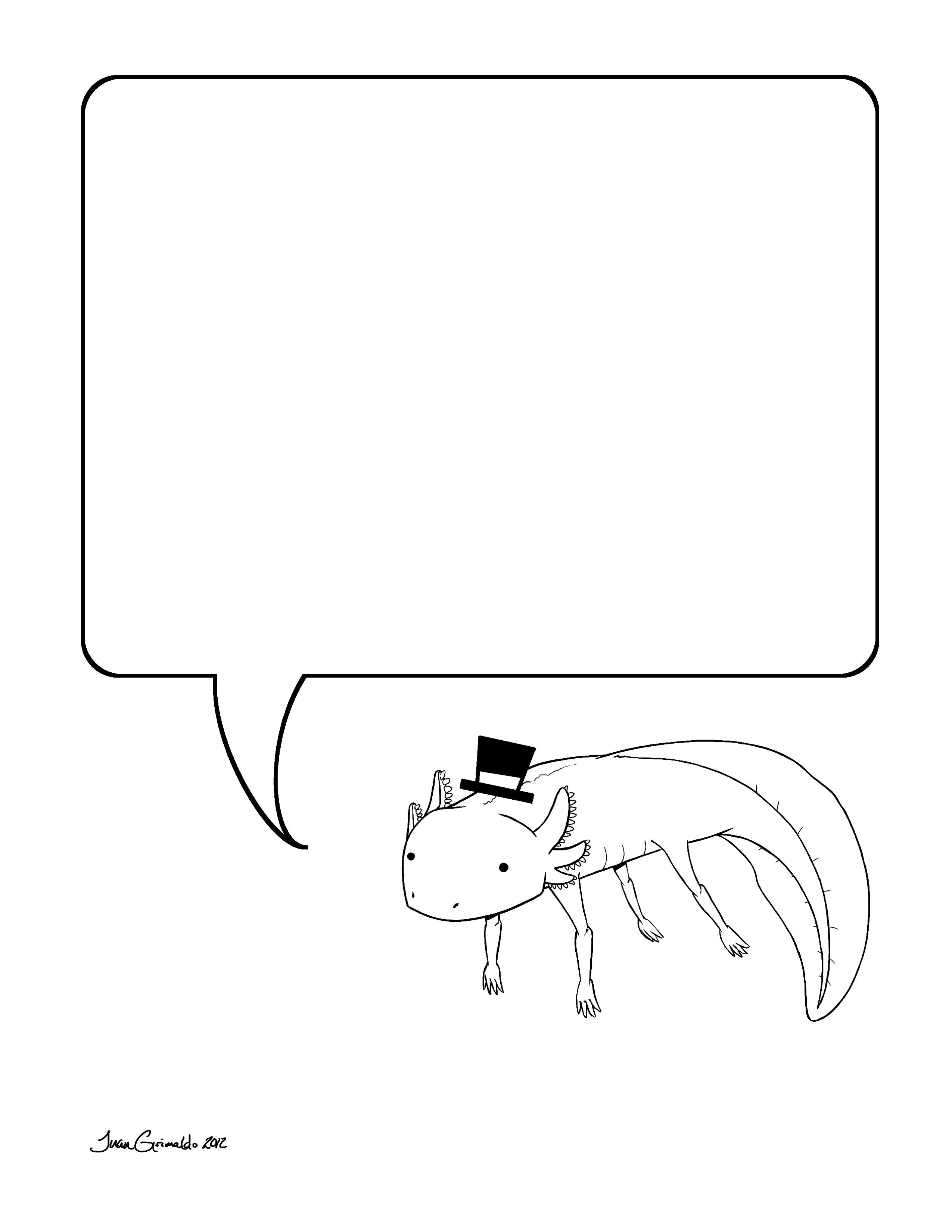 Axolotl Note Coloring Page By Grimaldo J On Deviantart Note Coloring Pages