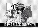 10 PNG BLACK AND WHITE+