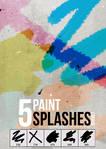 5 paint splashes brushes