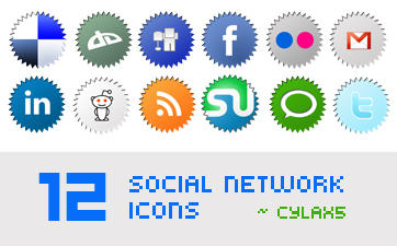 12 Social Network Icons by Cylax5
