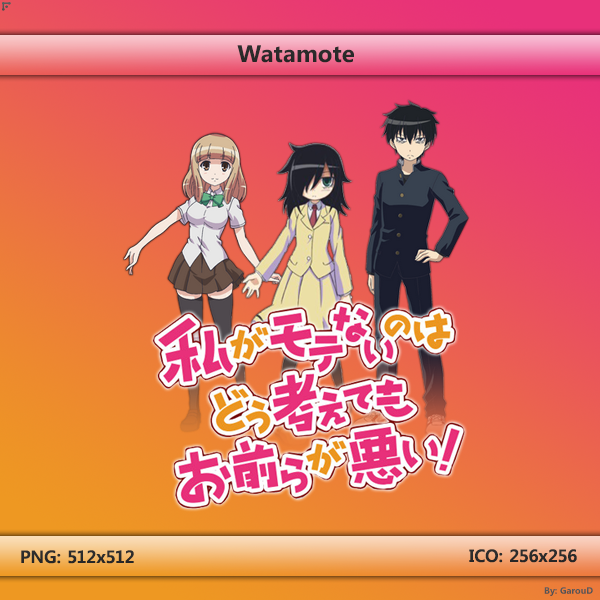 Watamote Anime Folder Icon 256x256 by GarouD