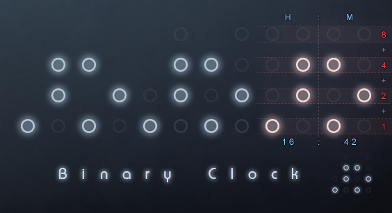 Rainmeter Binary Clock v2 by helkin86
