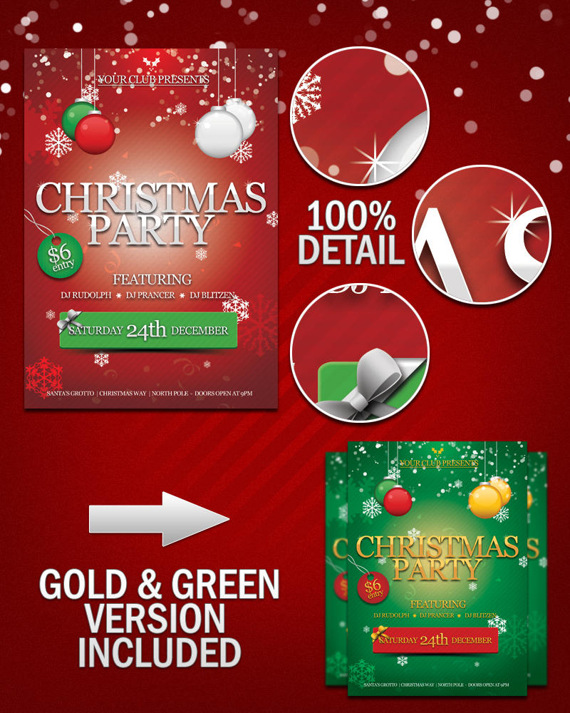 Free Christmas Party Flyer PSD by KronenDesign