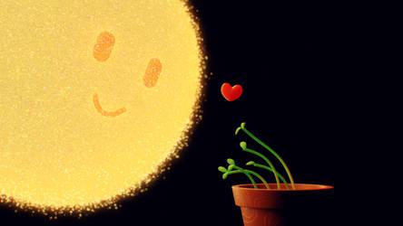 Sun + heart + plants