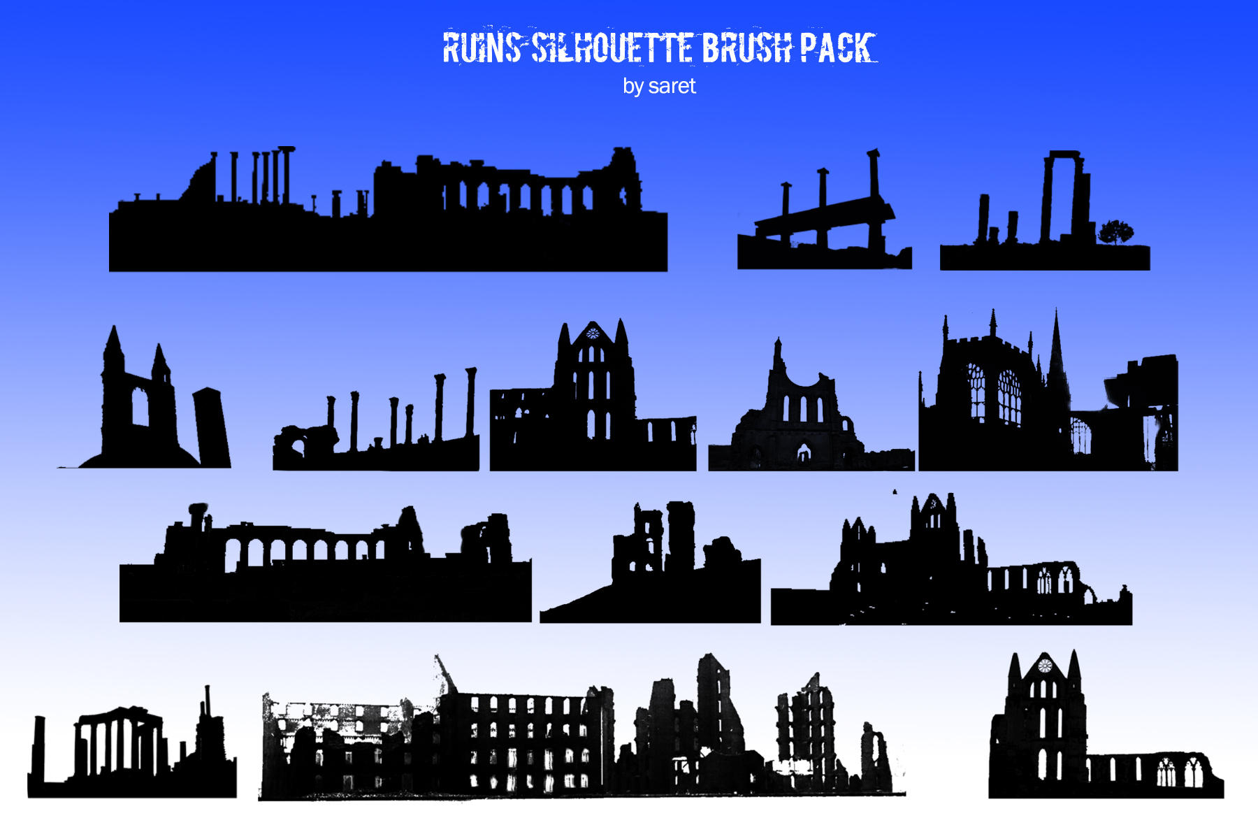 Building Ruin Silhouette Brush Pack by saret