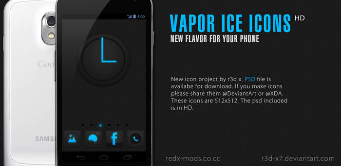 Vapor Ice Icons Pack with PSD